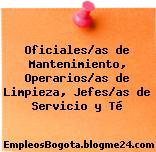 Oficiales/as de Mantenimiento, Operarios/as de Limpieza, Jefes/as de Servicio y Té
