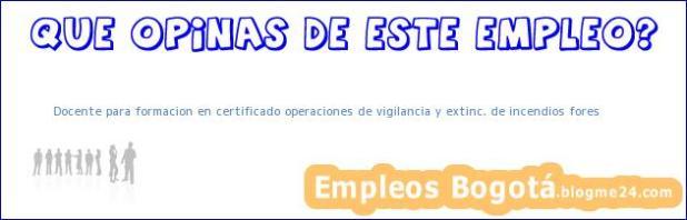 Docente para formacion en certificado operaciones de vigilancia y extinc. de incendios fores