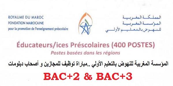 كونكورات جداد.. مباراة توظيف ابتداء من البكالوريا بالمؤسسة المغربية للنهوض بالتعليم الأولي برسم سنة 2021/2022