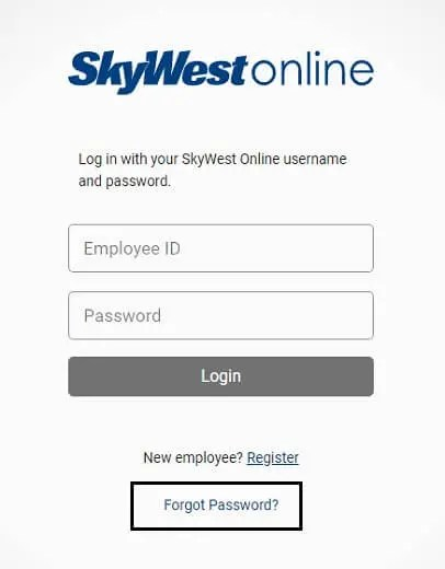skywest online recover password