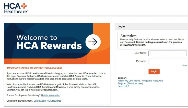 HCA Rewards Login