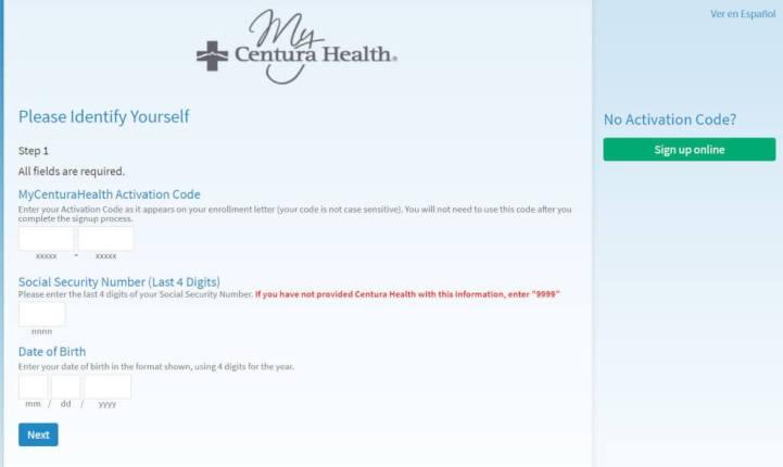 MyCenturaHealth Account Registration Process