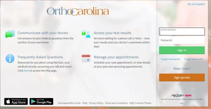 OrthoCarolina Patient Portal Login