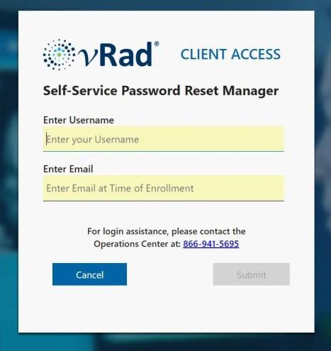 vrad login password reset steps