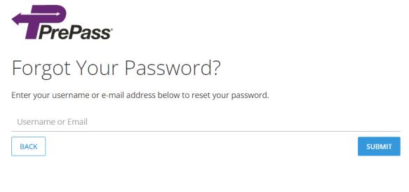 PrePass Account Password Reset