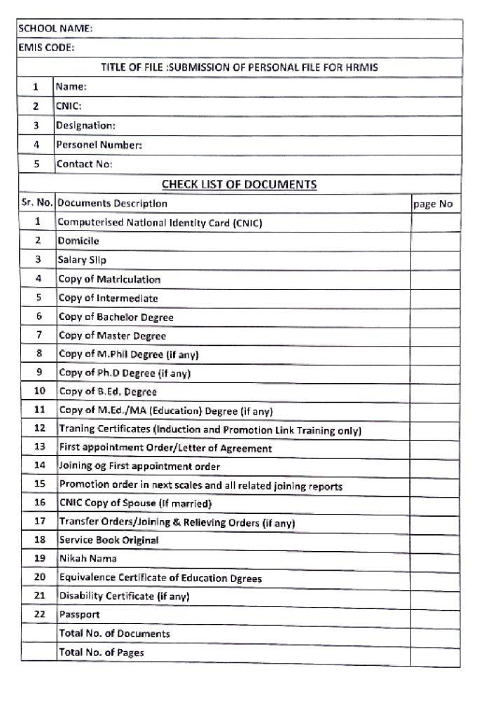 Personnel File Documents Checklist 2021 School Education Punjab