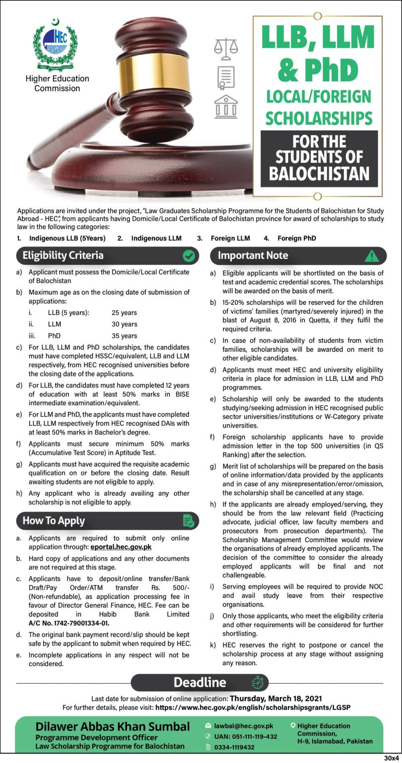 HEC Law Graduate Scholarship For Balochistan Students 2021-22