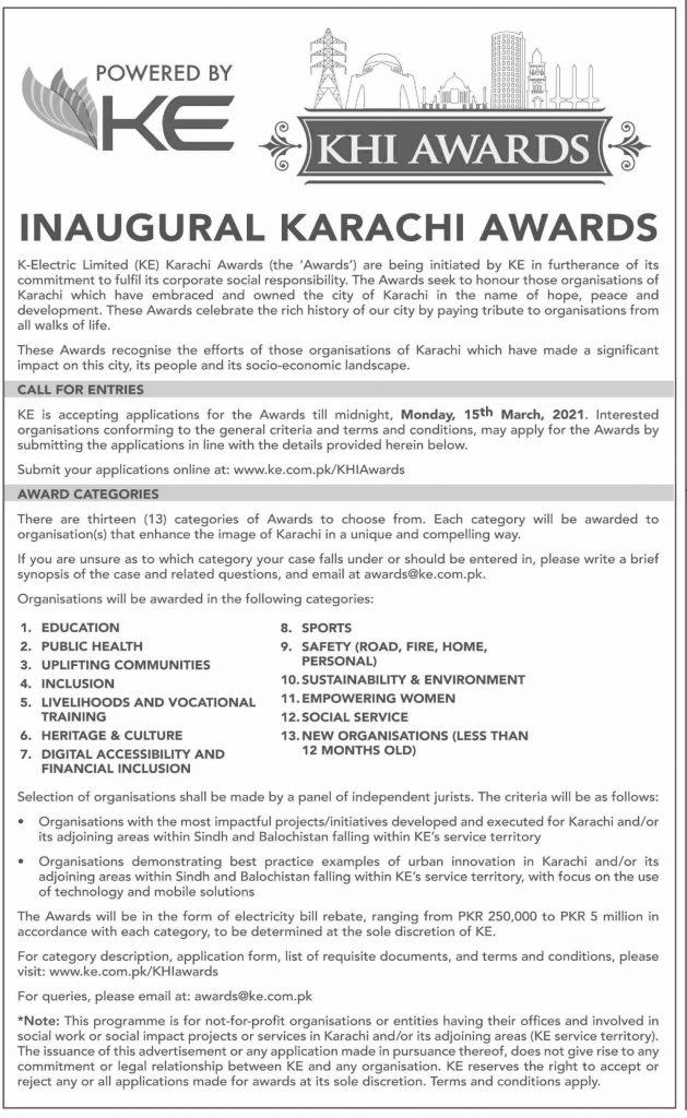 KHI Awards Categories 2021