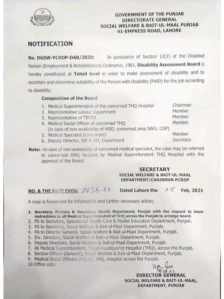 Punjab Disability Assessment Board 2021