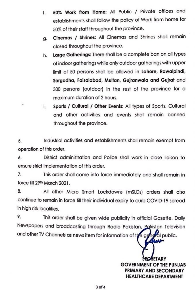 Punjab Govt Reimposes Restrictions in March 2021-3
