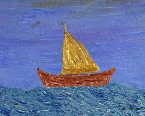 "Gold Sail Boat 16"" x 20"""