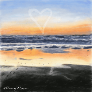 "Love Sunset At The Beach 15"" x 15"""