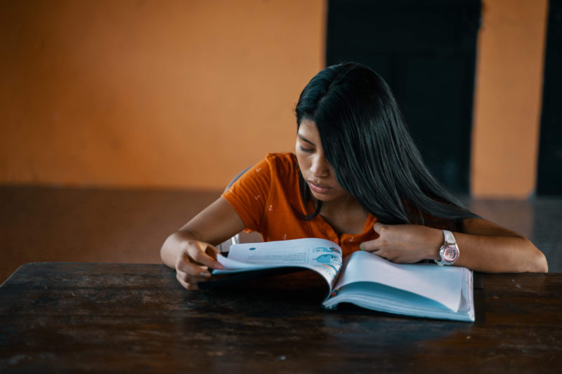 Sofia studies hard at school — her dream is to become a doctor.
