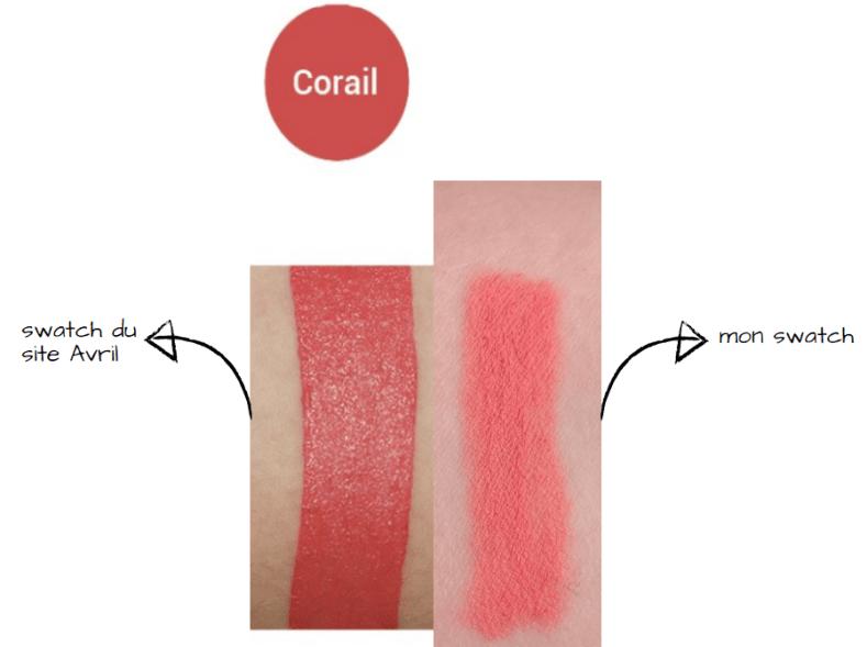 swatch crayon rouge à lèvres corail