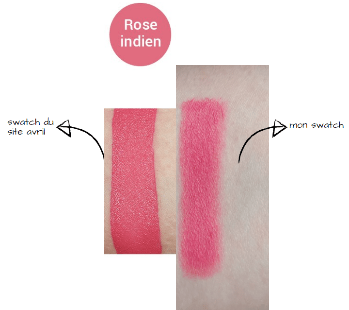 swatch crayon rouge a lèvres avril rose indien