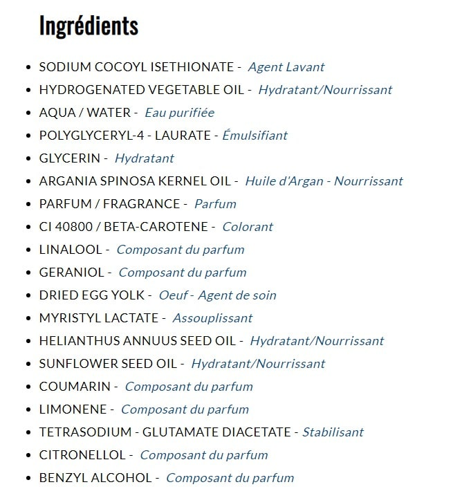 composition du shampoing dop aux œufs