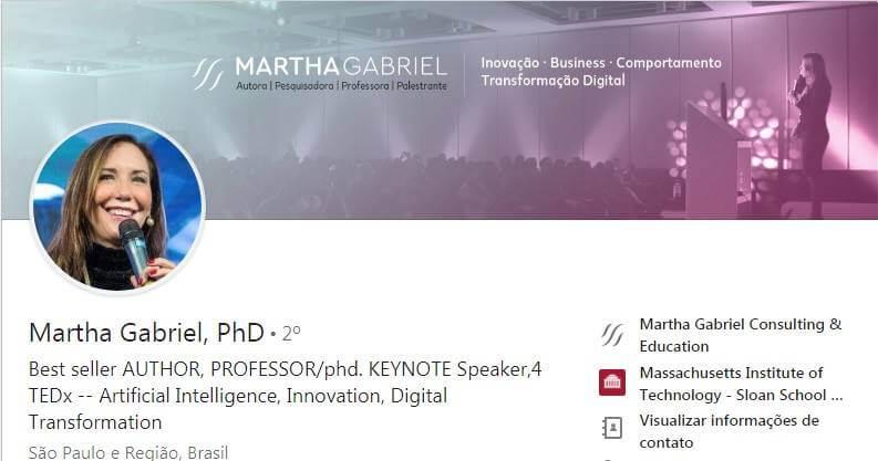 perfil no Linkedin da Martha Gabriel