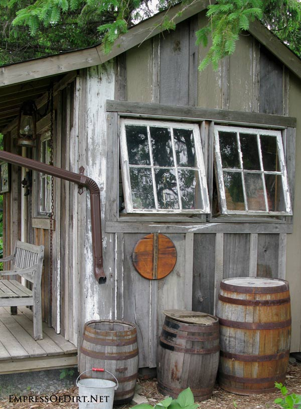 Modern Victorian Kitchen Garden With Rustic Tool Trellis