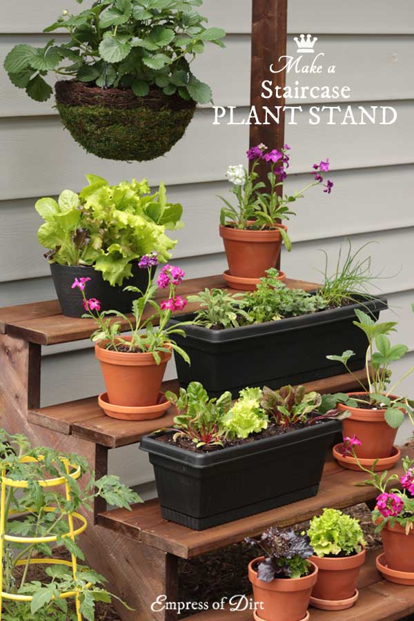 DIY Staircase Plant Stand - Empress of Dirt on Hanging Plant Stand Ideas  id=28099
