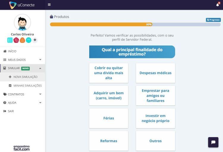 simulador de empréstimo consignado - tela de escolha do motivo do empréstimo
