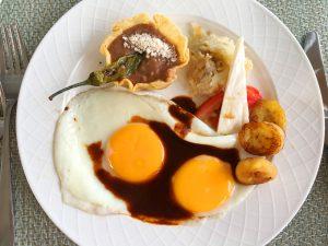 fried bananas, eggs, breakfast