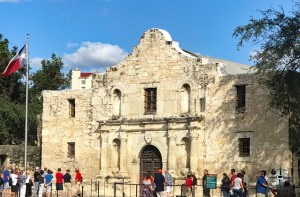 The front entrance of the Alamo in San Antonio, Texas
