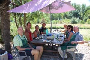 enjoying our lunch of French cuisine on the Canal du Midi