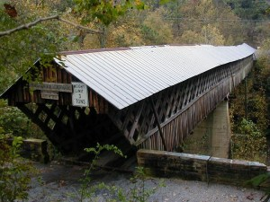 Horton Mill Covered Bridge spanning a deep ravine
