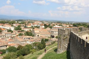 the view from the Medieval City hilltop over looking Carcassonne below
