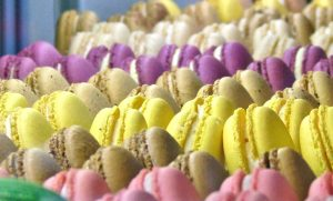 vibrant pastel macarons baked fresh at Bisous Bisous