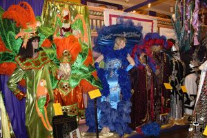 Extravagantly detailed costumes in Lake Charles Mardi Gras Museum