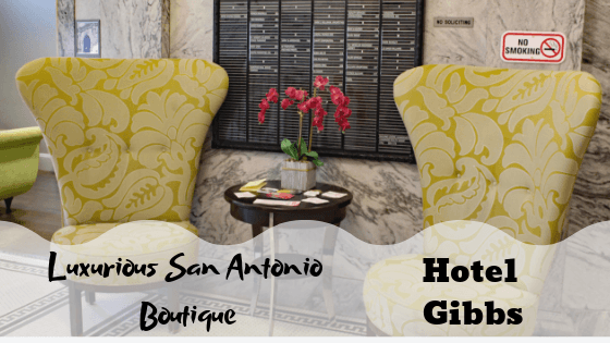 San Antonio Historic Boutique Hotel: Hotel Gibbs 2 Located in San Antonio, just steps from the Alamo Mission and Riverwalk is the Hotel Gibbs. Built in 1909, this family owned luxurious, art-deco building i