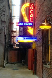 exterior of Scat Jazz Lounge in alley