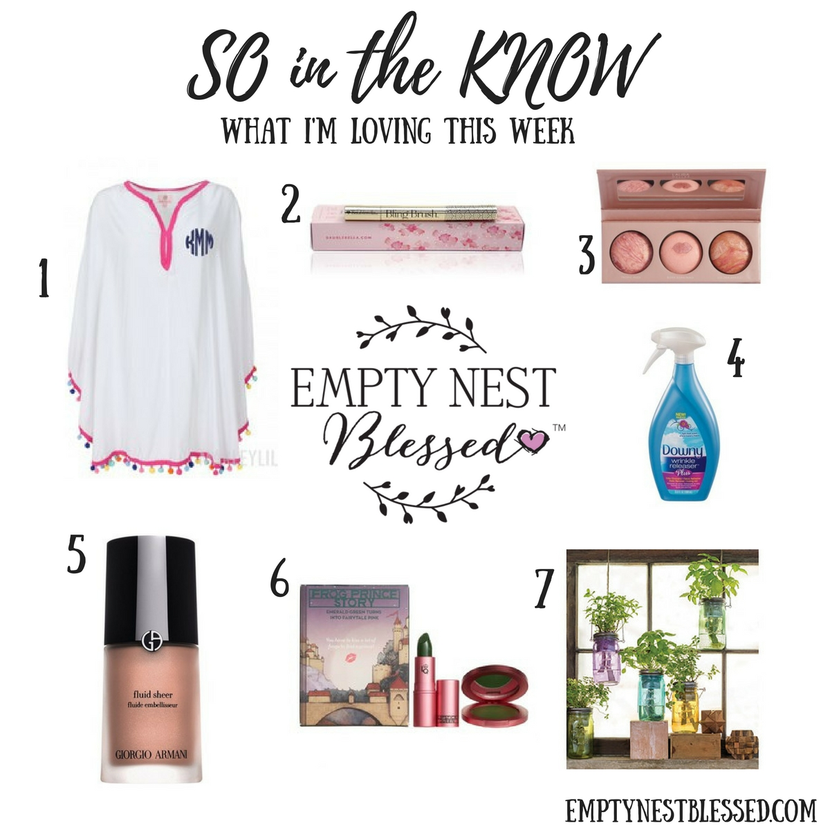 growing in the empty nest, Pom pom cover up, bling brush, downy wrinkle releaser, laura geller baked blush trio, Armani fluide sheer, color changing lipstick, frog lipstick, indoor herb garden, mason jar herb garden