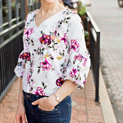 floral top, floral shirt, fall floral top, top in floral, whbm floral top, whbm poplin floral top