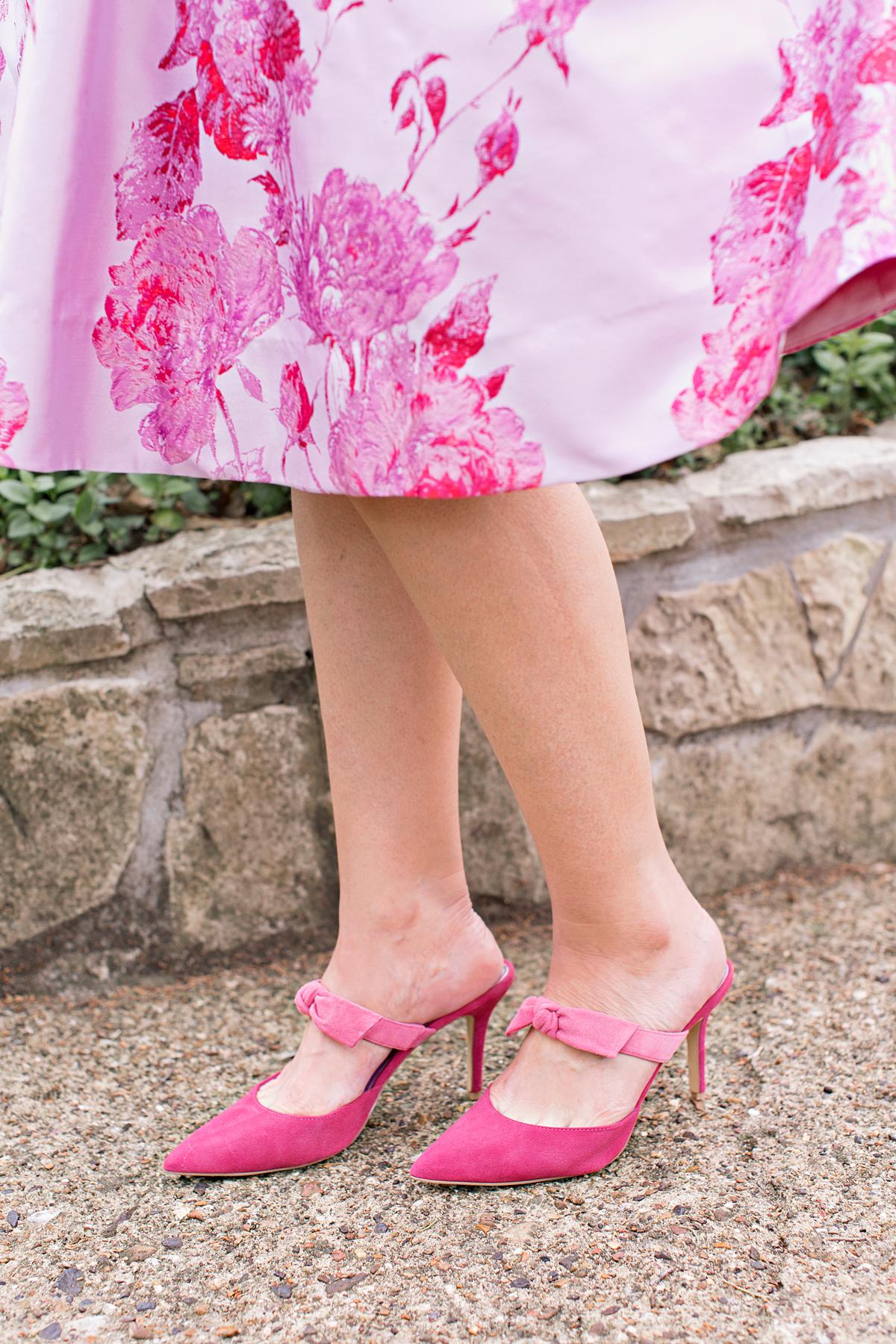 Pink dress, jacquard dress, special occasion dress, easter dress, fit and flare dress, fit and flare special occasion dress, pink jacquard dress, pink special occasion dress, pink fit and flare dress, white house black market pink dress, whbm dress, whbm dresses, sleeveless floral jacquard dress, sleeveless floral dress, sleeveless fit and flare dress, suede bow mules, bow mules, pink mules, pink bow mules, whbm suede bow mules, white house black market suede bow mules, three quarter-sleeve cardigan, pink cardigan, whbm cardigan, empty nest, empty nester, empty nesters, fashion over 50, midlife fashion, over 50 fashion, style over 50, style over 40, fashion over 40, midlife style, over 50 style