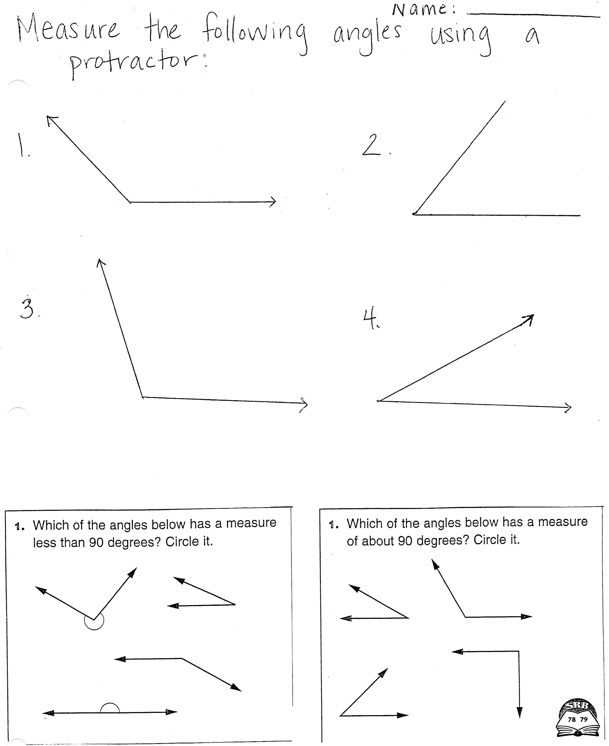Math Worksheets Measuring Angles Protractor