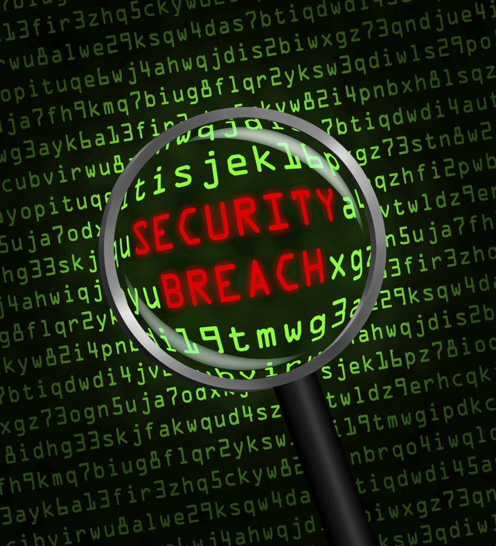 SECURITY BREACH revealed in green computer code through magnifying glass