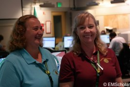 Deborah Henderson (left) and Zoe Choate (right) schedule staff so that the EOC always runs smoothly.