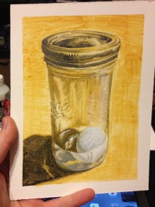 Egg in a Glass Jar w/ Water