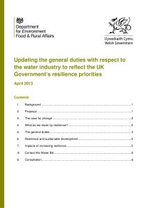 Defra Consultation: Updating the general duties with respect to the water industry to reflect the UK Government's resilience priorities