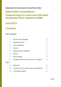Consultation: Site Waste Management Plans
