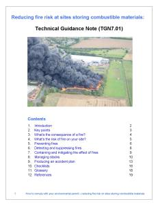 Technical Guidance Note: Reducing Fire Risk at Sites Storing Combustible Materials.