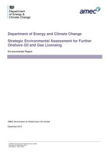 Strategic Environmental Assessment for further onshore oil and gas licensing: environmental report