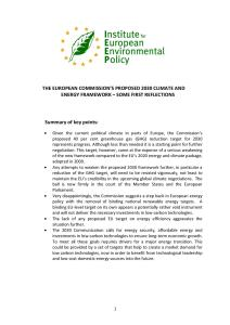 The European Commission's Proposed 2030 Climate Change and Energy Framework - Some First Reflections