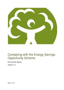 Environment Agency Guidance: Complying with the Energy Savings Opportunity Scheme