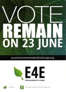 "Vote to Remain in the EU Leaflet from the ""Environmentalists in Europe"""