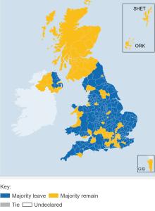 EU Referendum Result mapped across the United Kingdom (24 June 2016)