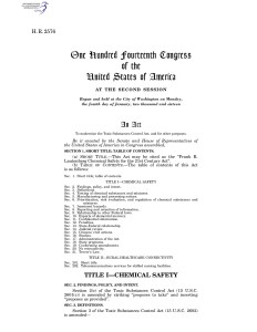 Frank R. Lautenberg Chemical Safety for the 21st Century Act 2016