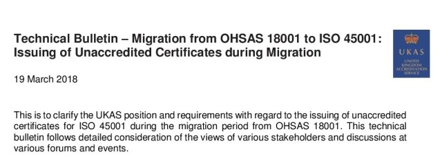 UKAS Technical Bulletin - ISO 45001:2018 Migration Process